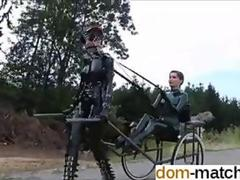 Leather dressed sex slave takes a domina out for a ride