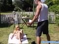 Outdoor babe jerking cock after pussyfucking