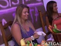 Busty blonde babe hazes teen pledges with fat vegetables