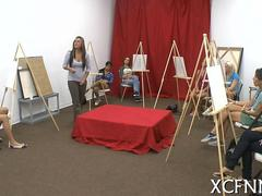Art class chick suck and fuck their painting model