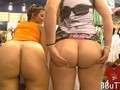 Two nasty sluts dine on dick in a big store
