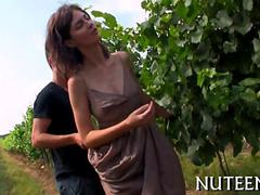 Tall busty beauty get seduced in a vineyard by her boyfriend