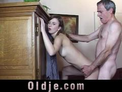 Old man wanking ends with fucking young girl
