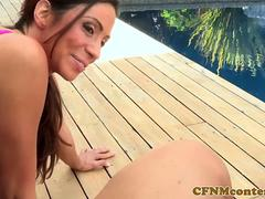 Busty cfnm milfs punish peeping tom outdoors