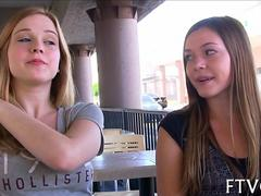Cute teens flash in public and toy back at home