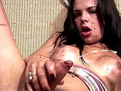 Brunette tgirl covered in whipped cream strokes and blasts