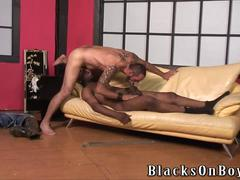 Bearded guy does bareback interracial gay porn
