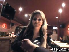 Euro agent fucks a curvy slut in restaurant bathroom doggystyle