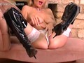 Horny blonde Milf finger fucks wet pussy in sexy leather boots and fishnets