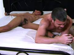 little skinny boy getting his ass plugged by a dilf