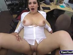 Big boobs amateur brunette wife fucked at the pawnshop