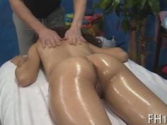 Curly ebony chick gets her face cum slathered during massage
