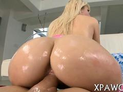 Download Blonde Oiled Up For A Slick Pussy Fucking In Doggy Style