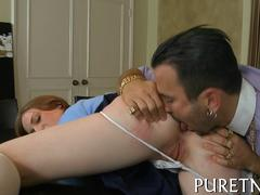 Redhead schoolgirl gets her ass licked for the first time