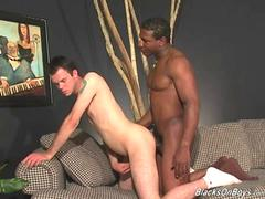 Lusty white guy gets gangbanged by blacks