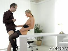 Classy blonde lady in stockings wants to being in her office