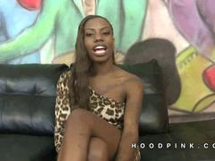 Jalisa skinny long hair black girl sucks