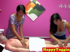 Asian massage threeway with babes wanking