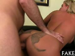 Curvy blonde amateur with a big booty gets rammed so hard