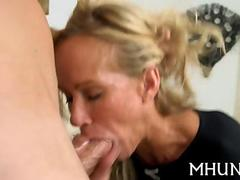 Beautiful blonde MILF lady sucks a dick and gets rammed