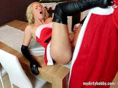 Sexy blonde Christmas bitch