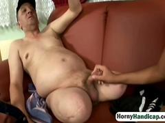 Hairy pussy brunette riding handicapped blowjob