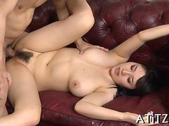 Busty Japanese babe doggy styled hard and fast