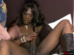 Ebony tbabe gets her tight ass finger fucked and cock tugged