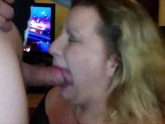 Cum Gargling Cheating HouseWife Sucking cock