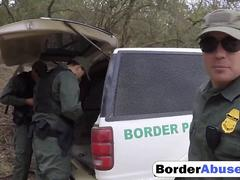 Border jumper flawless teen security checked by big cock officer