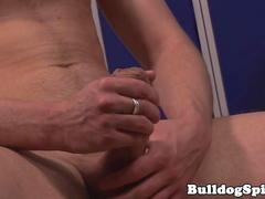 Jerking jock with bigcock using both hands