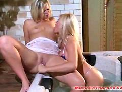 Hot blonde Michelle Thorne having filthy lesbian girl on girl fun in jacuzzi