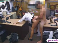 Bubble butt woman railed by pawn man in the back office