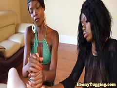 Black beauties pulling cock in pov threesome