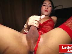 Solo ladyboy toys ass and jerksoff huge load