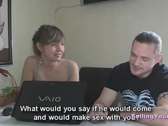 Russian Brunette Receives A Creampie