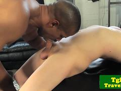 Tgirl rides black dick in interracial couple
