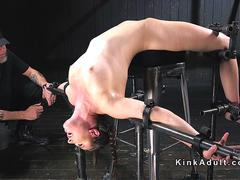 Babe in back arched device bondage