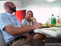 Bearded hunk gets a fine handjob under the table