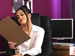 Femdom babe humiliates her sub in the office