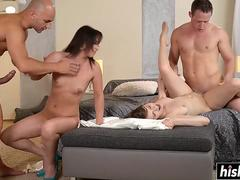 Guy exchange their cock hungry girlfriends
