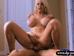 Giant boobs milf Nicolette Shea pounded in shower room
