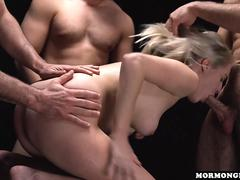 Mormongirlz - Blonde gangbanged with husband