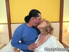Horny granny is happy to give a head to that big cock and get scored in numerous poses by this handsome super stud