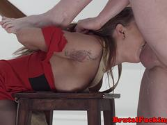 Roughly assfucked babe gagging on cock