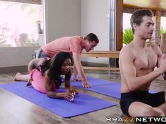 Fitness ebony babe really knows how to swallow that stiff cock and get it between her sexy legs in different poses from this stud