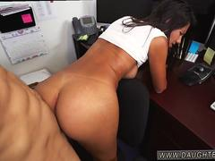 Secretary latina beauty having a good time giving a blowjob and getting screwed by this hunk with a massive cock in multiple poses