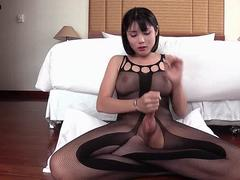 Asian shemale freting and getting facial