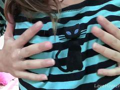 Cute teen loves to tease in darkness