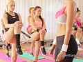 Hot babes having threesome at the gym